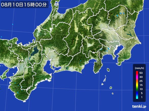 東海地方の雨雲レーダー(2016年08月10日)