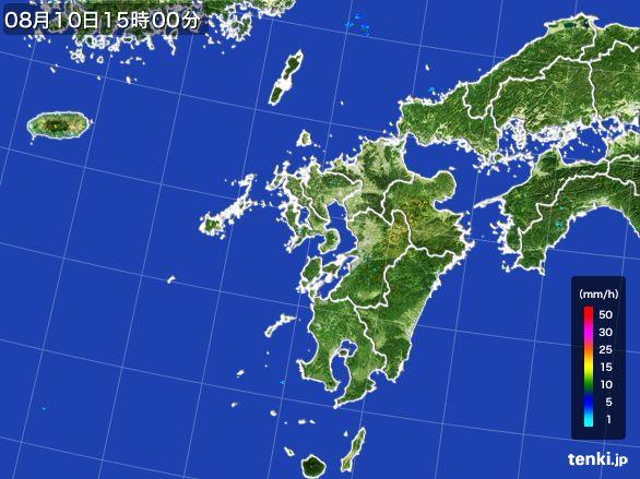 九州地方の雨雲の動き(2016年08月10日)