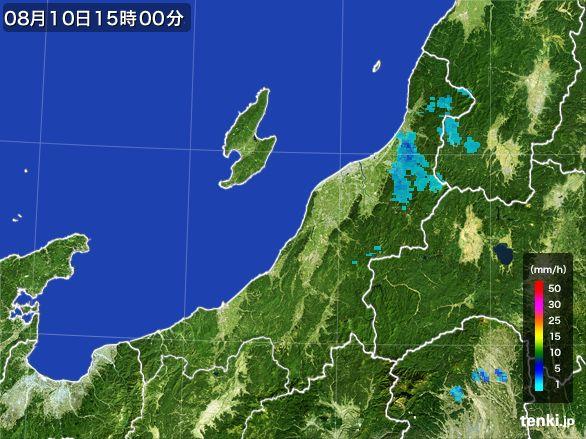 新潟県の雨雲レーダー(2016年08月10日)