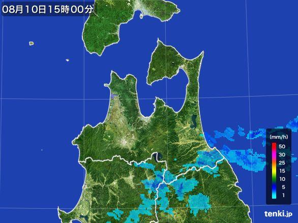 青森県の雨雲レーダー(2016年08月10日)