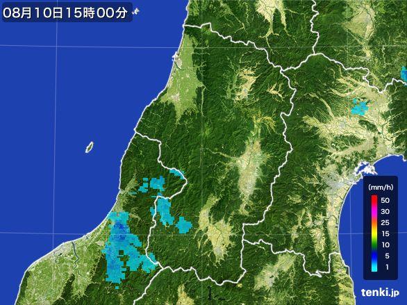 山形県の雨雲レーダー(2016年08月10日)
