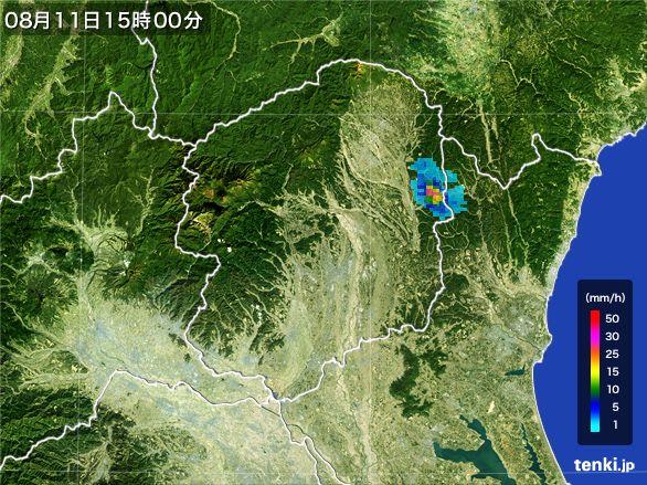 栃木県の雨雲レーダー(2016年08月11日)