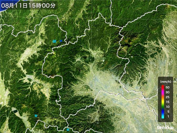 群馬県の雨雲レーダー(2016年08月11日)