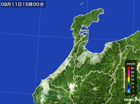 石川県の雨雲レーダー(2016年08月11日)