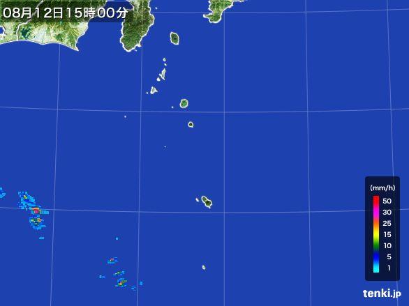伊豆諸島(東京都)の雨雲レーダー(2016年08月12日)