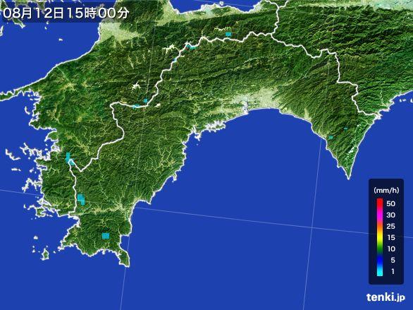 高知県の雨雲レーダー(2016年08月12日)