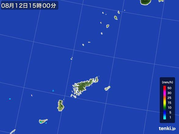 奄美諸島(鹿児島県)の雨雲レーダー(2016年08月12日)
