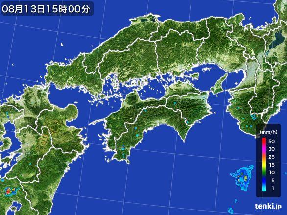 四国地方の雨雲レーダー(2016年08月13日)