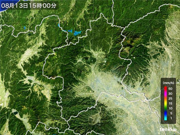 群馬県の雨雲レーダー(2016年08月13日)