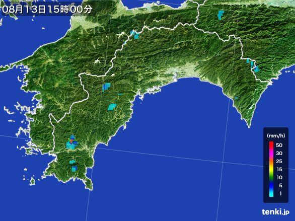 高知県の雨雲レーダー(2016年08月13日)