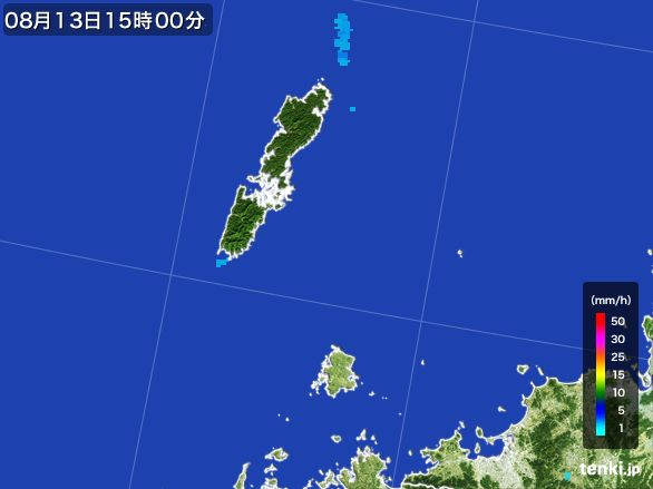 壱岐・対馬(長崎県)の雨雲レーダー(2016年08月13日)