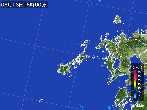 五島列島(長崎県)の雨雲レーダー(2016年08月13日)