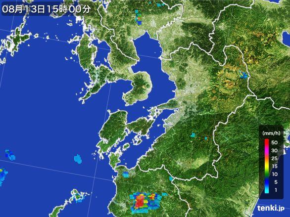 熊本県の雨雲レーダー(2016年08月13日)