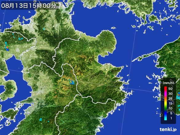 大分県の雨雲レーダー(2016年08月13日)