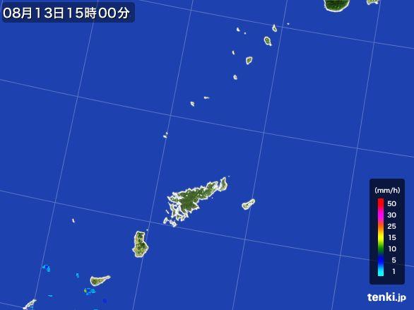 奄美諸島(鹿児島県)の雨雲レーダー(2016年08月13日)