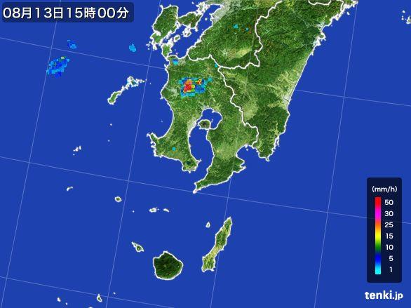鹿児島県の雨雲レーダー(2016年08月13日)