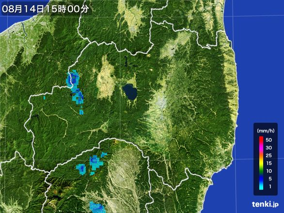 福島県の雨雲レーダー(2016年08月14日)