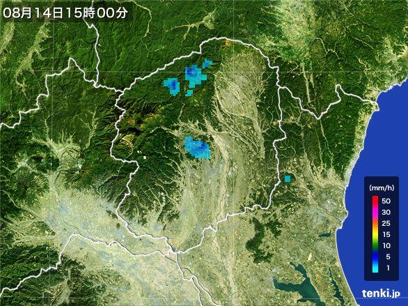 栃木県の雨雲レーダー(2016年08月14日)