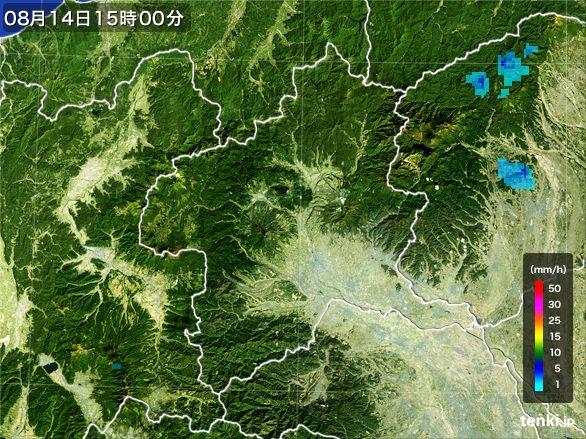 群馬県の雨雲レーダー(2016年08月14日)