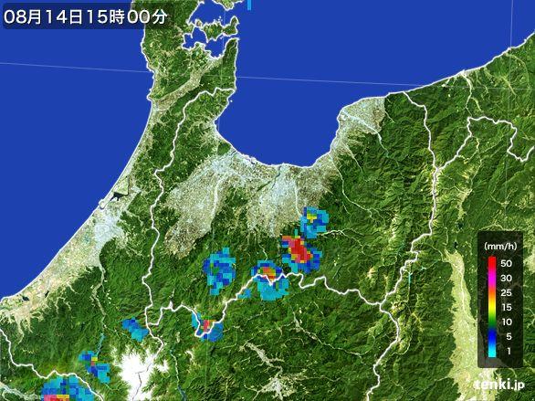 富山県の雨雲レーダー(2016年08月14日)