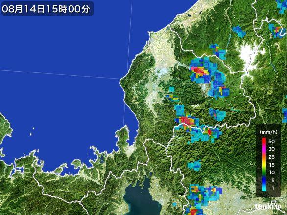 福井県の雨雲レーダー(2016年08月14日)