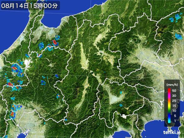 長野県の雨雲レーダー(2016年08月14日)