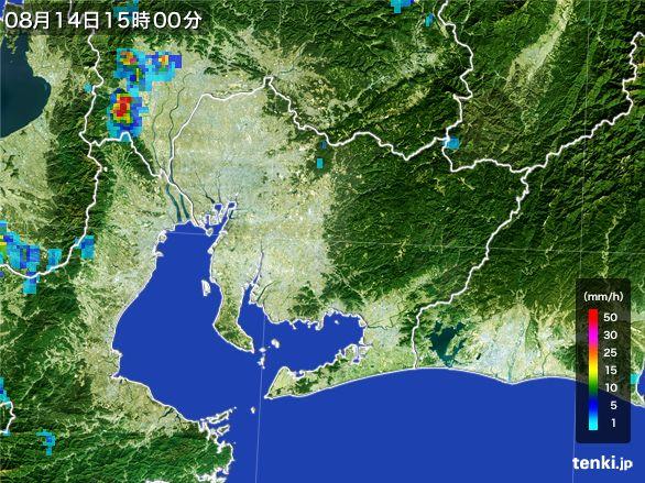 愛知県の雨雲レーダー(2016年08月14日)