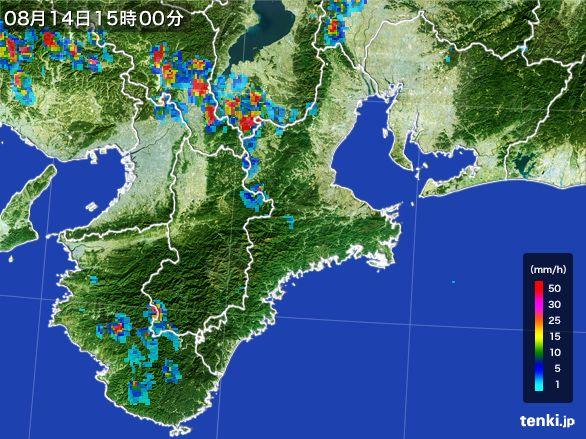 三重県の雨雲レーダー(2016年08月14日)