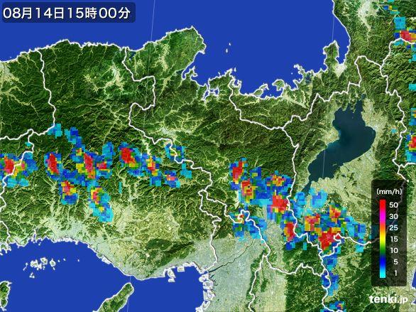 京都府の雨雲レーダー(2016年08月14日)
