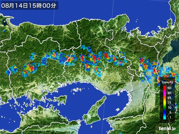 兵庫県の雨雲レーダー(2016年08月14日)