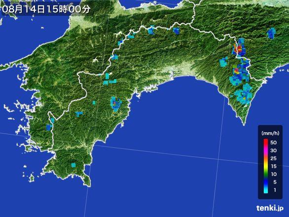 高知県の雨雲レーダー(2016年08月14日)