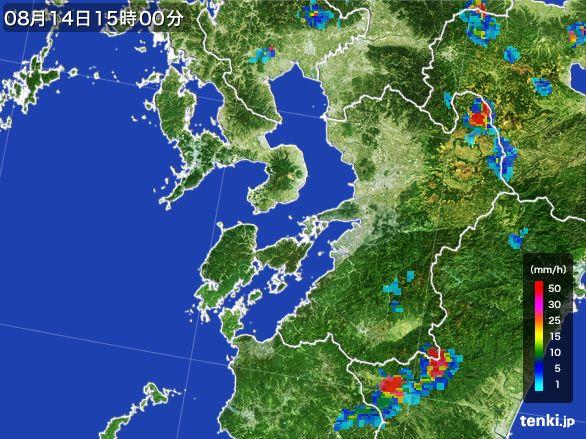 熊本県の雨雲レーダー(2016年08月14日)