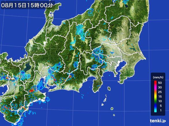 関東・甲信地方の雨雲レーダー(2016年08月15日)