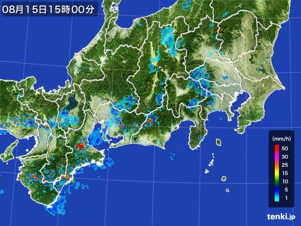 東海地方の雨雲レーダー(2016年08月15日)