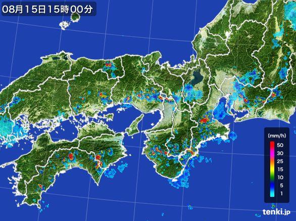 近畿地方の雨雲レーダー(2016年08月15日)