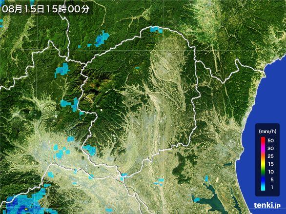 栃木県の雨雲レーダー(2016年08月15日)