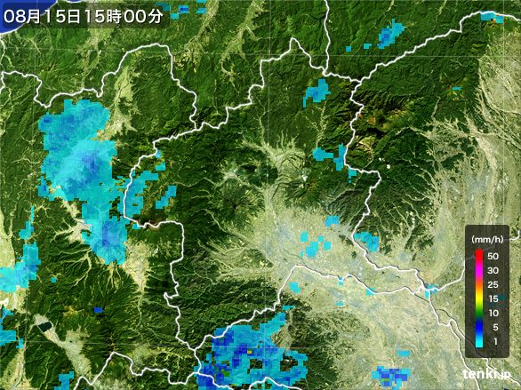 群馬県の雨雲レーダー(2016年08月15日)