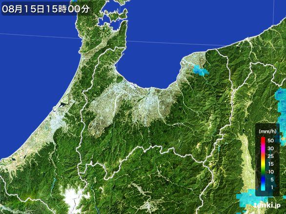 富山県の雨雲レーダー(2016年08月15日)