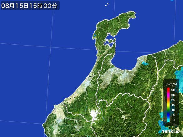 石川県の雨雲レーダー(2016年08月15日)