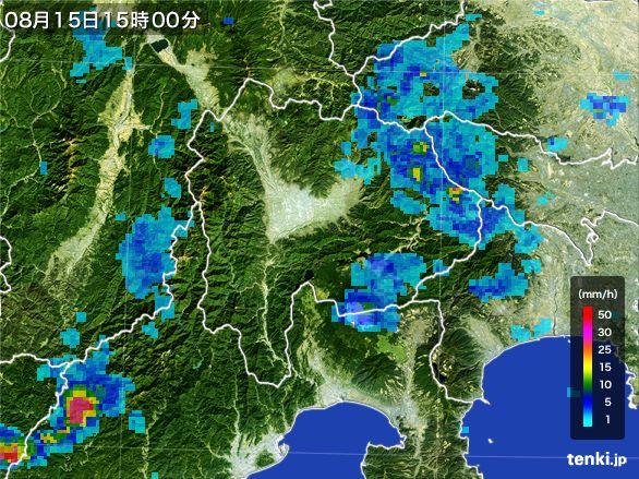 山梨県の雨雲レーダー(2016年08月15日)