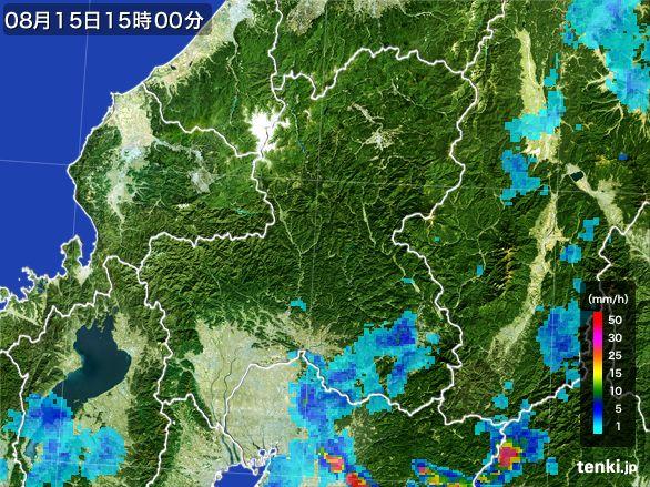 岐阜県の雨雲レーダー(2016年08月15日)