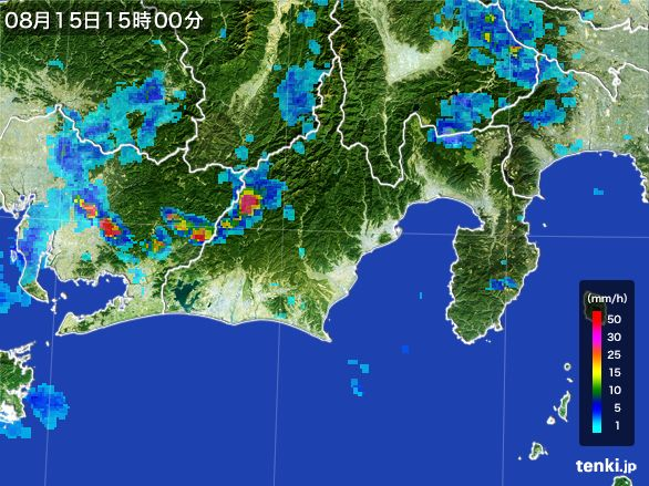 静岡県の雨雲レーダー(2016年08月15日)