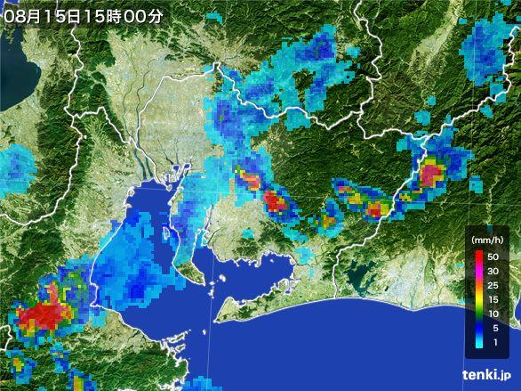 愛知県の雨雲レーダー(2016年08月15日)