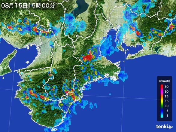 三重県の雨雲レーダー(2016年08月15日)