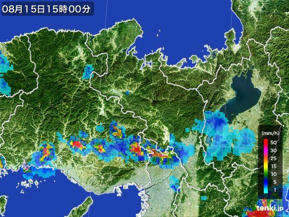 京都府の雨雲レーダー(2016年08月15日)