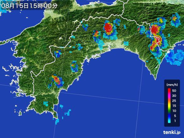 高知県の雨雲レーダー(2016年08月15日)
