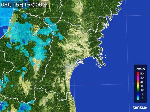 宮城県の雨雲レーダー(2016年08月15日)