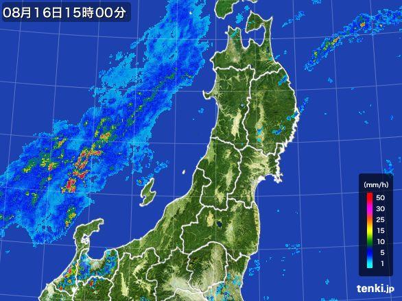 東北地方の雨雲レーダー(2016年08月16日)