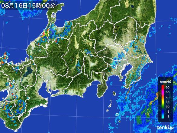 関東・甲信地方の雨雲レーダー(2016年08月16日)