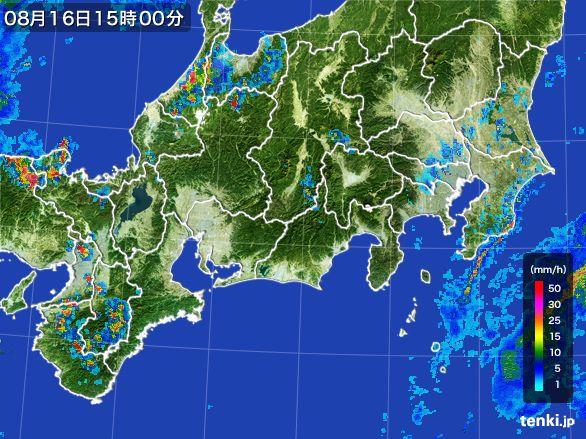 東海地方の雨雲レーダー(2016年08月16日)
